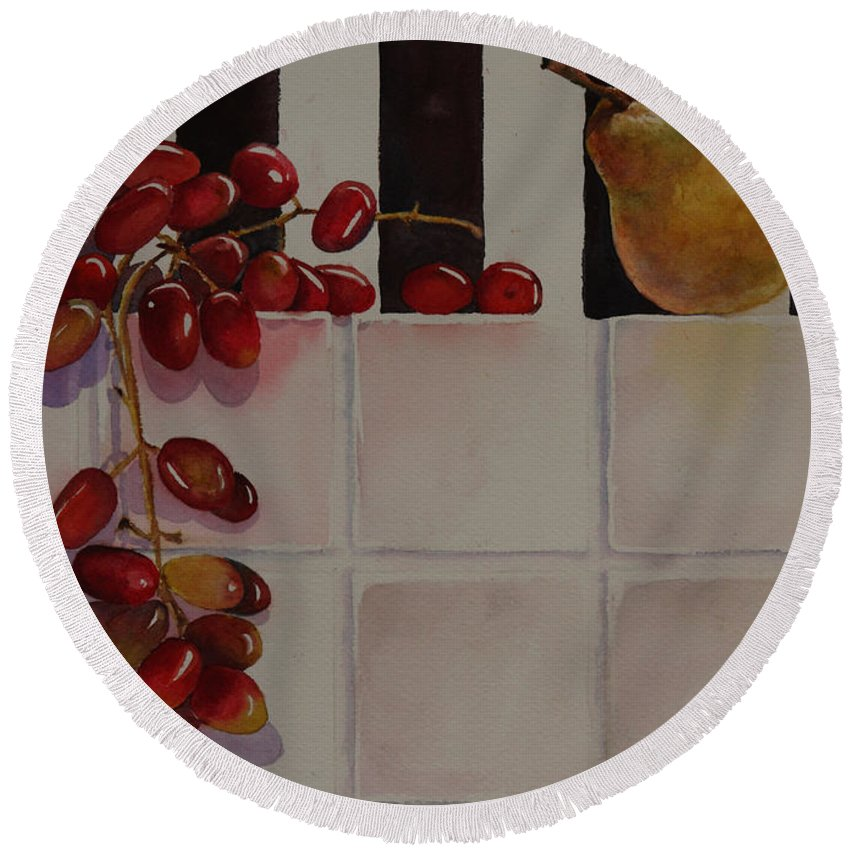 Fruit Round Beach Towel featuring the painting Grapes And Pear by Ruth Kamenev