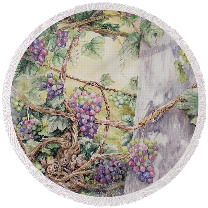 Vines Round Beach Towel featuring the painting Grapevine Laurel Lakevineyard by Valerie Meotti