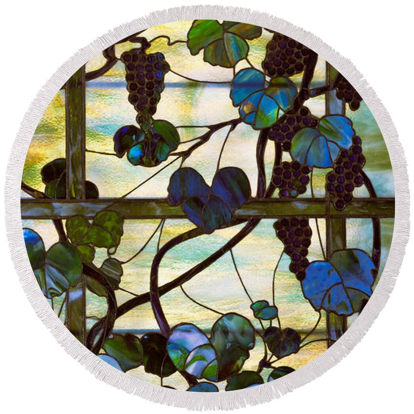 Tiffany Round Beach Towel featuring the glass art Grapevine by Louis Comfort Tiffany