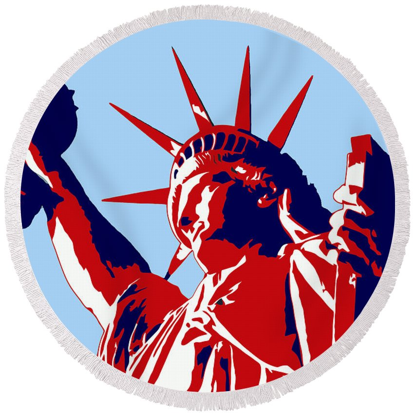 Statue Of Liberty Round Beach Towel featuring the painting Graphic Statue Of Liberty Red White Blue by Elaine Plesser
