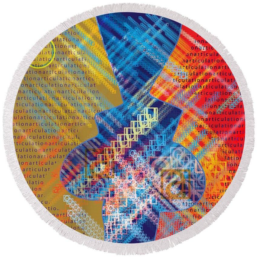 Digital Round Beach Towel featuring the digital art Graphics - Voiceprint, Read My Lips by Arthur Babiarz