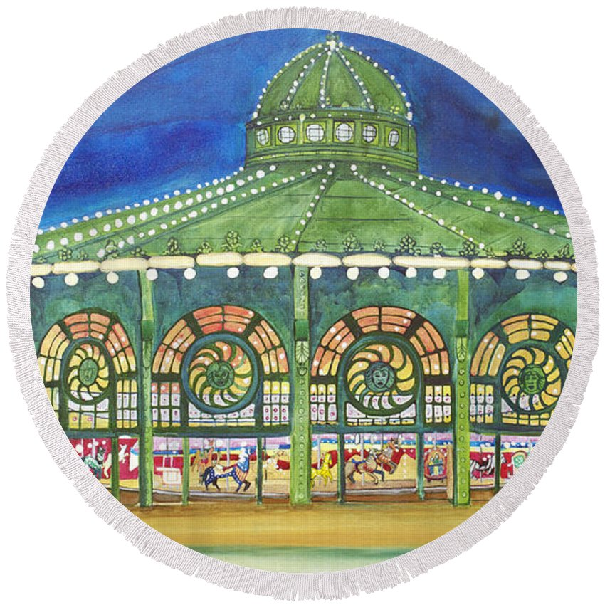 Night Paintings Of Asbury Park Round Beach Towel featuring the painting Grasping The Memories by Patricia Arroyo
