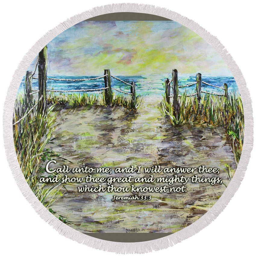 Beach Round Beach Towel featuring the digital art Grassy Beach Post Morning 2 Jeremiah 33 by Janis Lee Colon