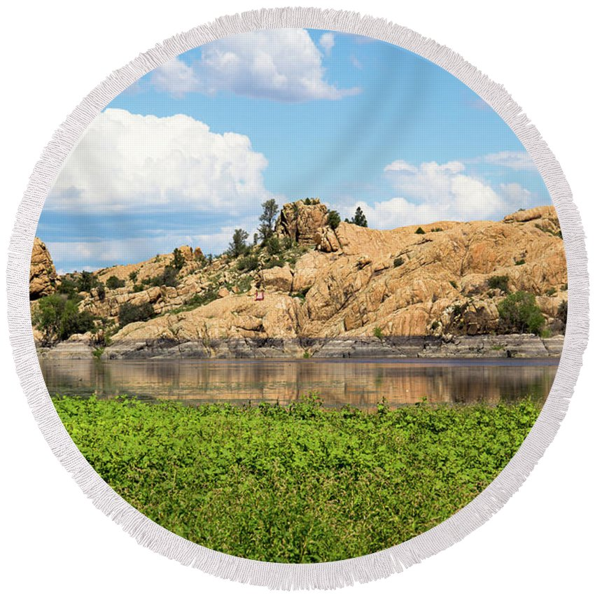 Landscape Round Beach Towel featuring the photograph Grassy Shore Of Willow Lake by Amy Sorvillo