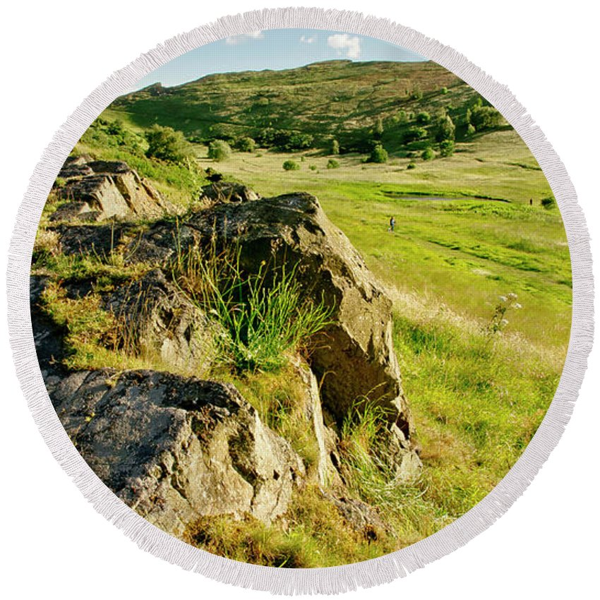 Grass Round Beach Towel featuring the photograph Grassy Slopes And Grass On Rocks. by Elena Perelman