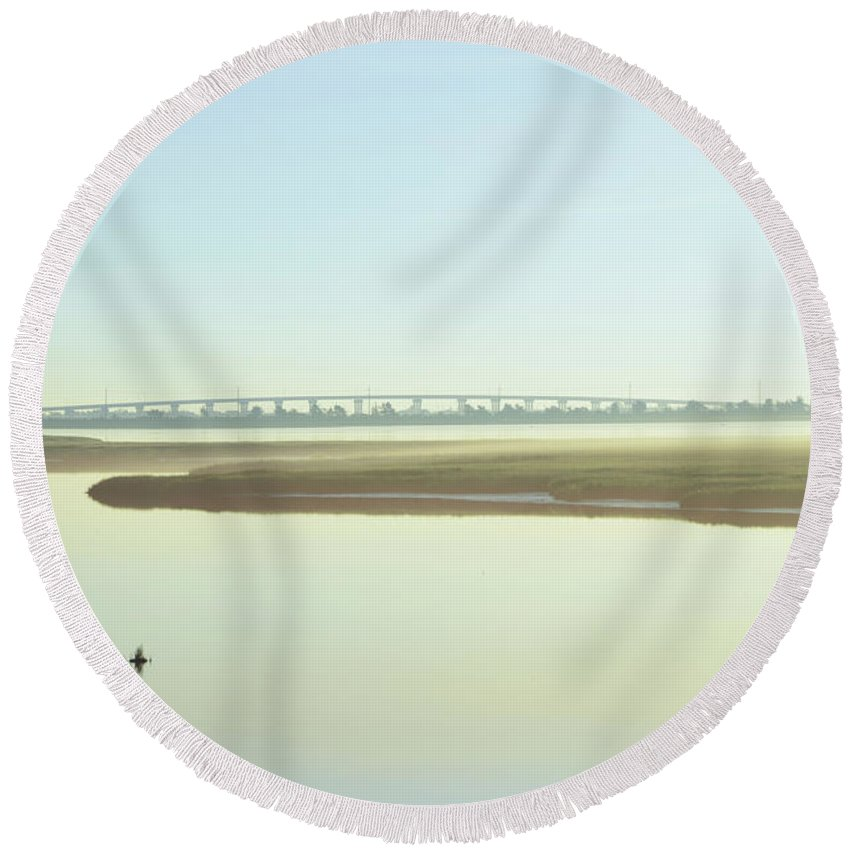Grassy Round Beach Towel featuring the photograph Grassy Sound Bridge North Wildwood New Jersey by Bill Cannon