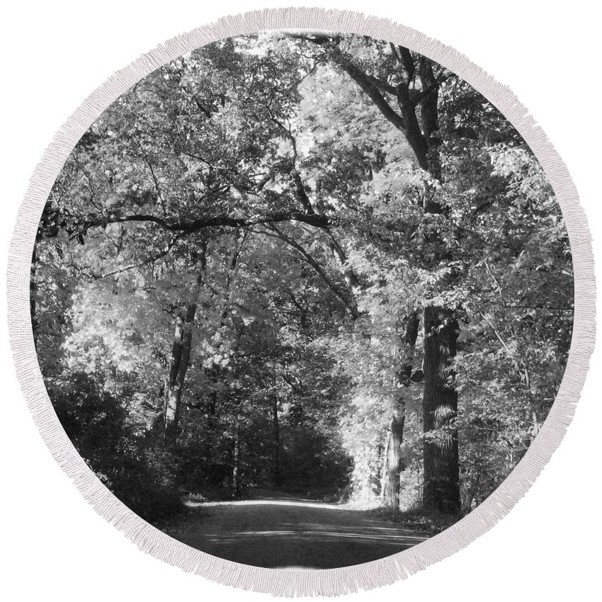 Back Round Beach Towel featuring the photograph Graves Rd by September Stone