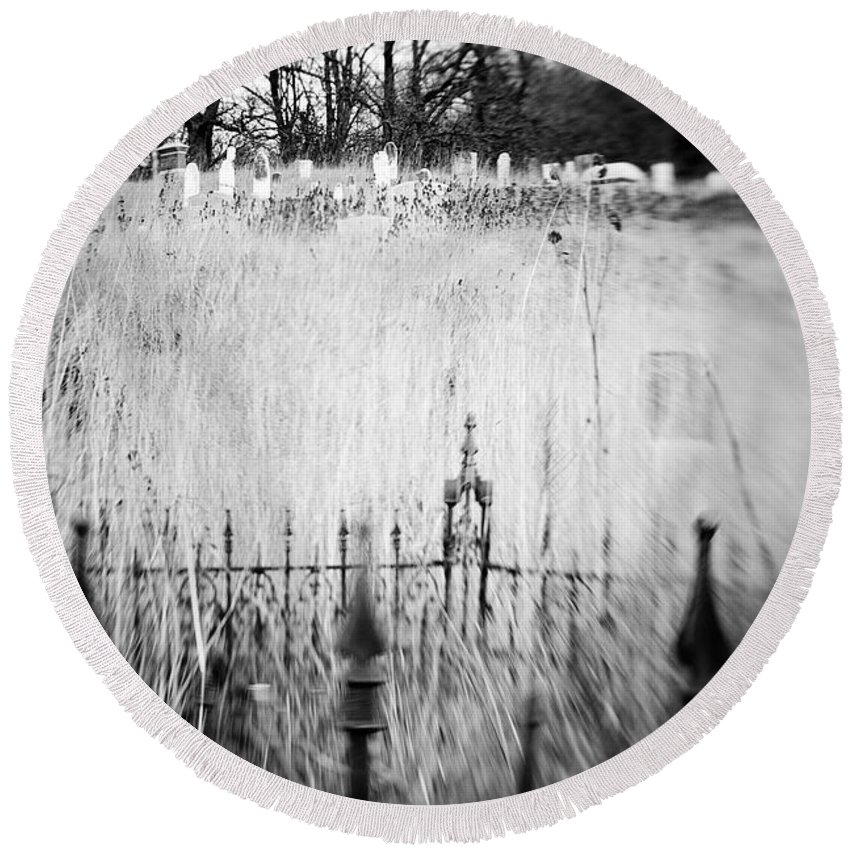 B&w Round Beach Towel featuring the photograph Graveyard 6788 by Timothy Bischoff