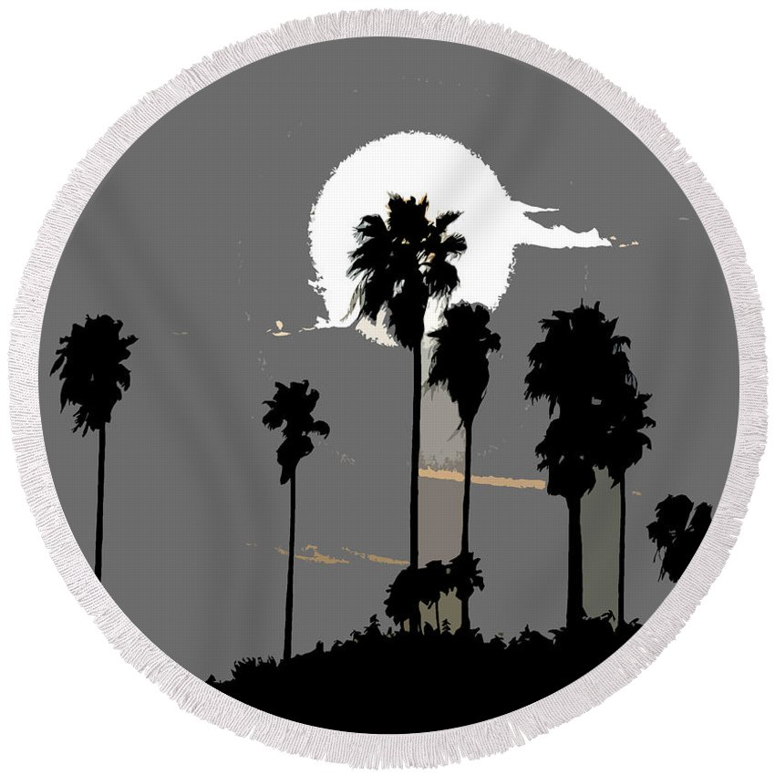 Palms Round Beach Towel featuring the painting Gray Palms by David Lee Thompson
