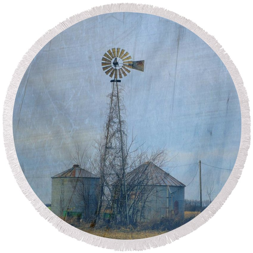 Windmill Round Beach Towel featuring the photograph Gray Windmill 2 by Bonfire Photography