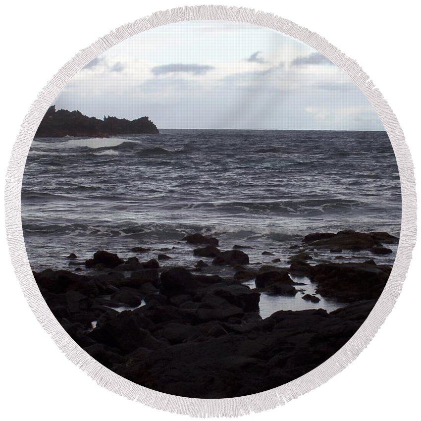 Water Round Beach Towel featuring the photograph Grayscale by Deborah Crew-Johnson
