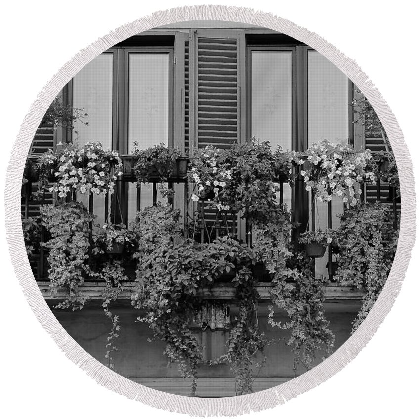 Window Round Beach Towel featuring the photograph Grayscale Foliage by Frozen in Time Fine Art Photography