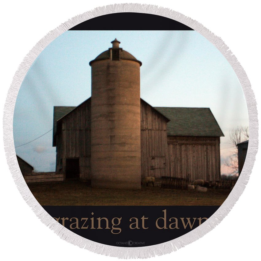 Barn Round Beach Towel featuring the photograph Grazing At Dawn by Tim Nyberg