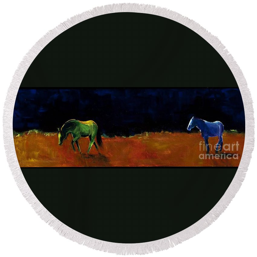 Abstract Horses Round Beach Towel featuring the painting Grazing In The Moonlight by Frances Marino
