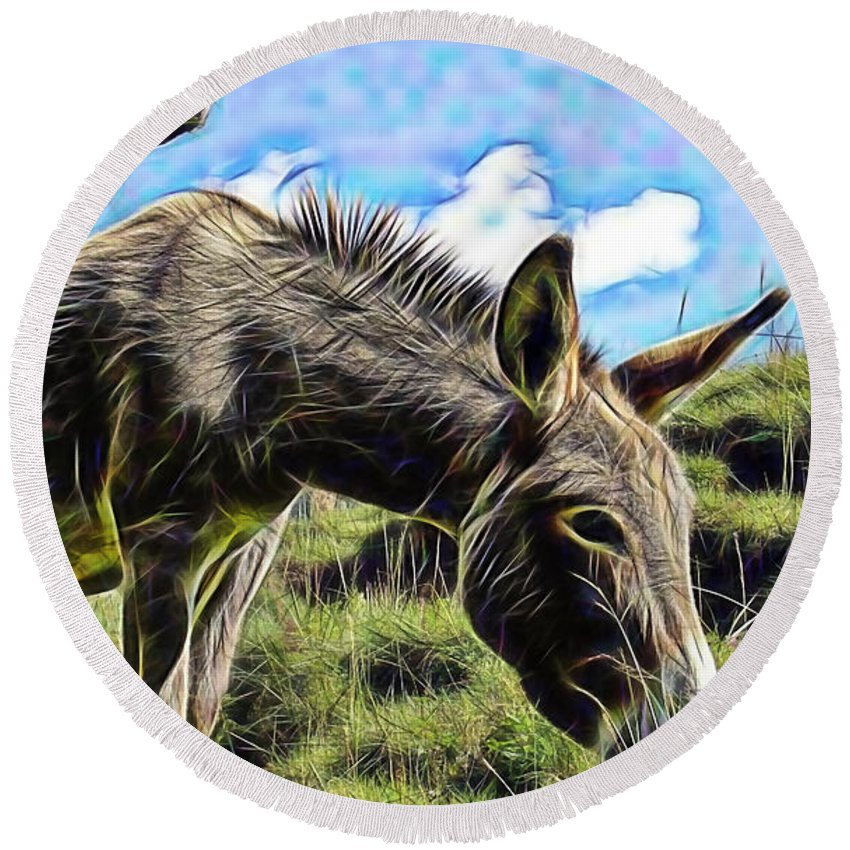 Donkey Round Beach Towel featuring the mixed media Grazing by Marvin Blaine