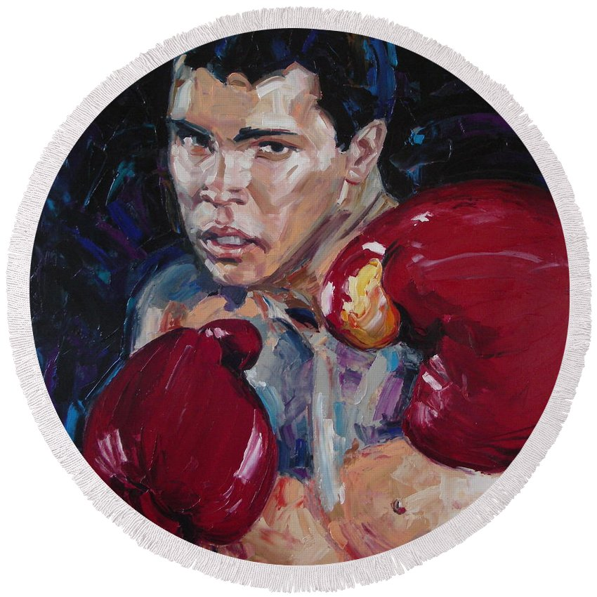 Figurative Round Beach Towel featuring the painting Great Ali by Sergey Ignatenko