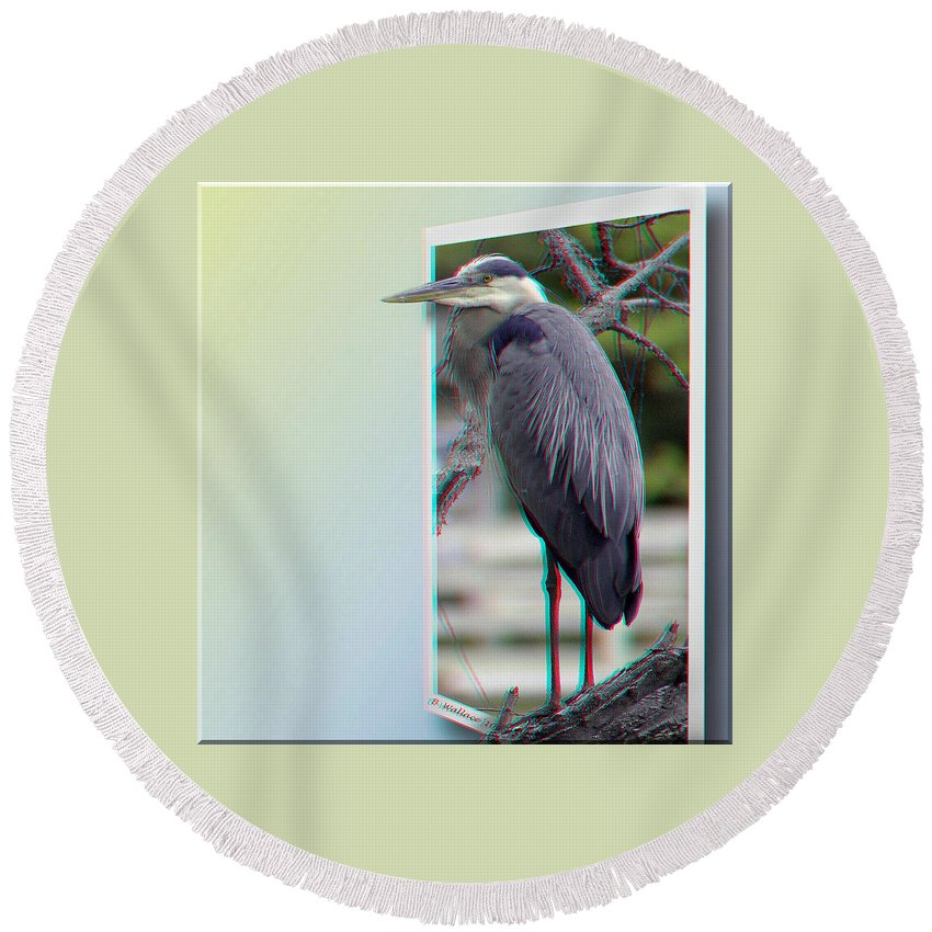 3d Round Beach Towel featuring the photograph Great Blue Heron - Red-cyan 3d Glasses Required by Brian Wallace