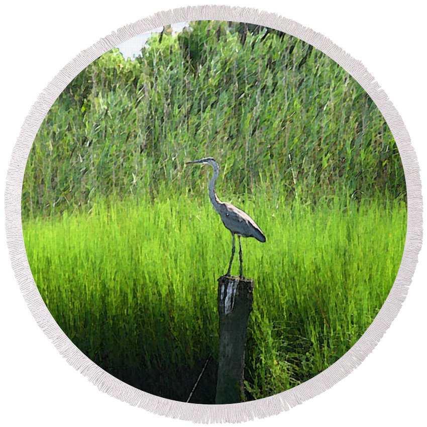 Great Blue Heron Round Beach Towel featuring the digital art Great Blue Heron by Chris Taggart