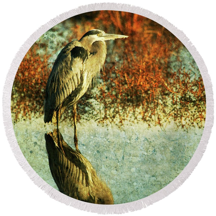 Round Beach Towel featuring the photograph Great Blue Heron by Guy Crittenden