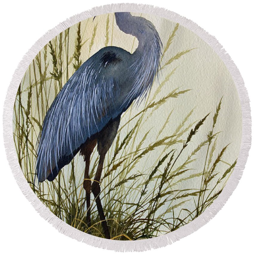 Great Blue Heron Round Beach Towel featuring the painting Great Blue Heron Splendor by James Williamson