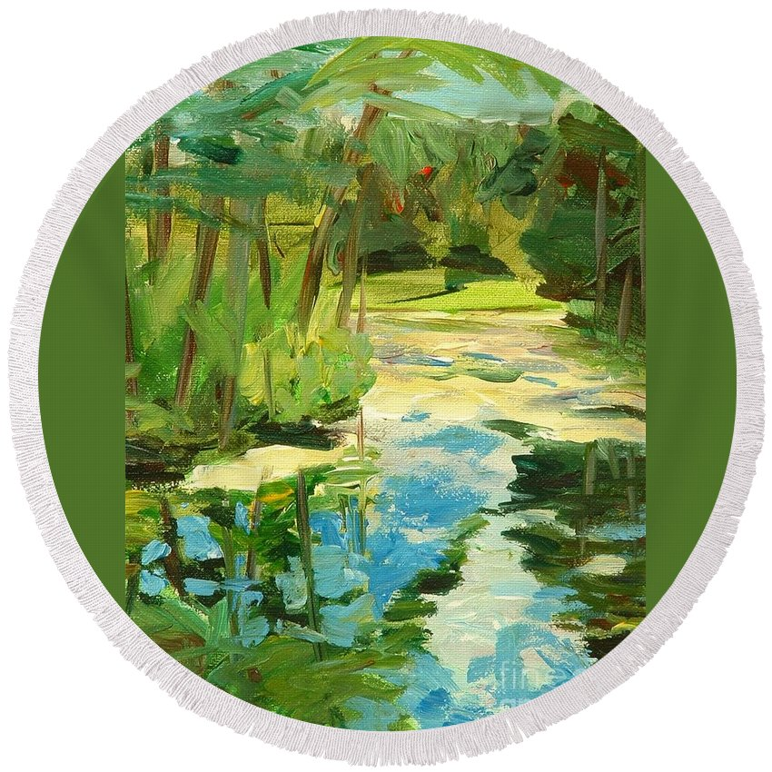 Blue Round Beach Towel featuring the painting Great Brook Farm Canoe Launch by Claire Gagnon
