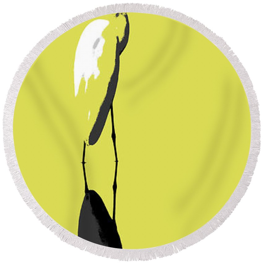 Egret Round Beach Towel featuring the photograph Great Egret Reflection Gold by Paul Rebmann