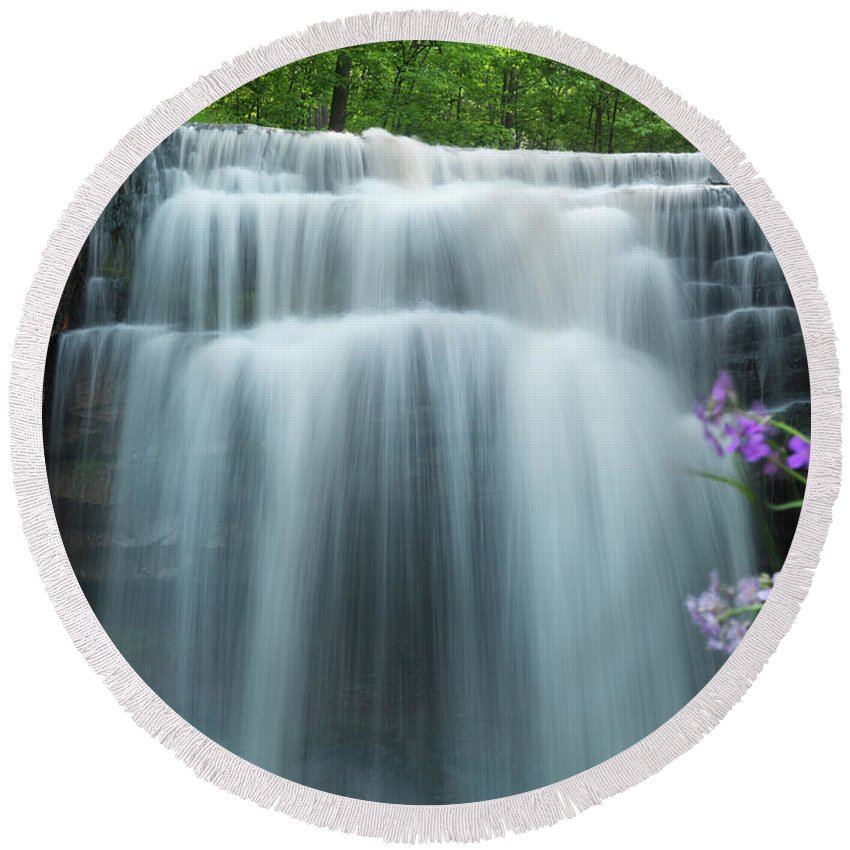 Waterfall Round Beach Towel featuring the photograph Great Falls by Maxim Images Prints
