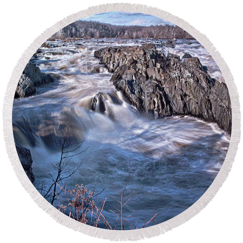 Potomac River Round Beach Towel featuring the photograph Great Falls Virginia by Suzanne Stout