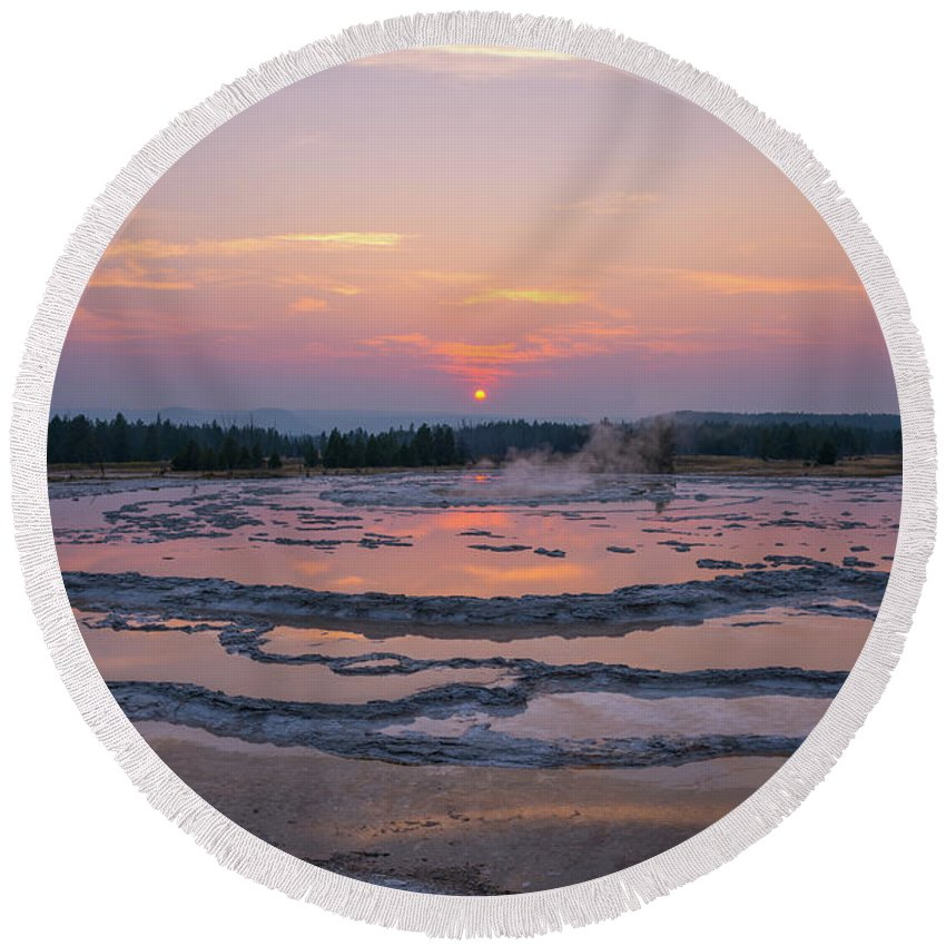 Great Fountain Geyser Round Beach Towel featuring the photograph Great Fountain Geyser Sunset Reflections by Michael Ver Sprill