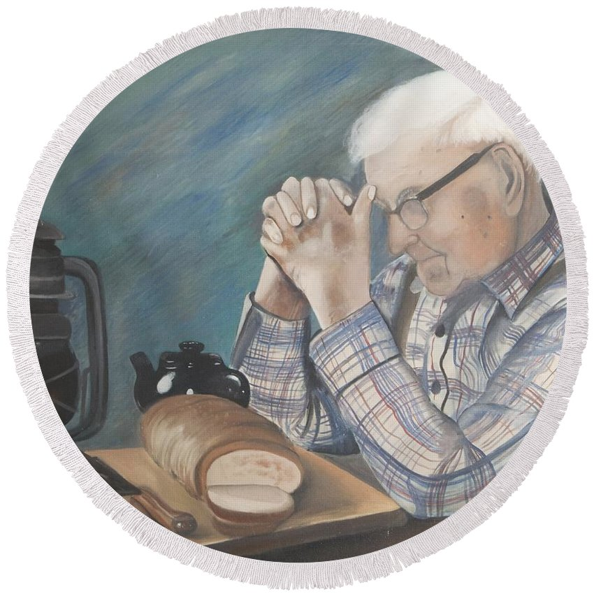 Great Grandpa Round Beach Towel featuring the painting Great Grandpa by Jacqueline Athmann