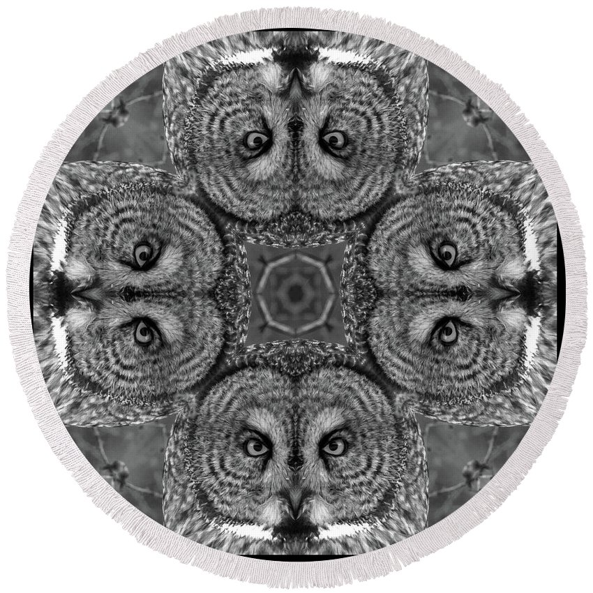 Kaleidoscope Round Beach Towel featuring the photograph Great Gray Owl Stare Down by Rhoda Gerig
