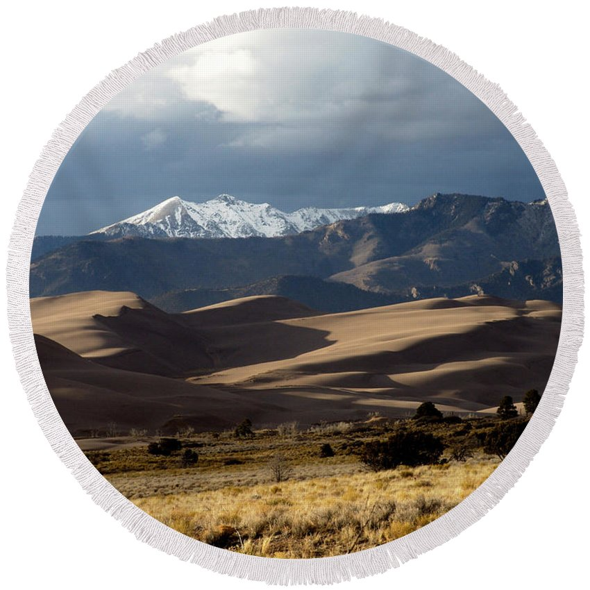 Sand Round Beach Towel featuring the photograph Great Sand Dunes National Park by Carol Milisen