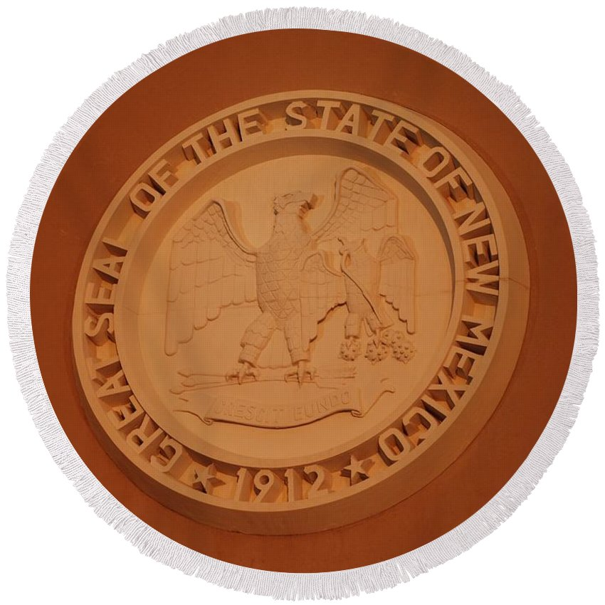 Eagle Round Beach Towel featuring the photograph Great Seal Of The State Of New Mexico 1912 by Rob Hans