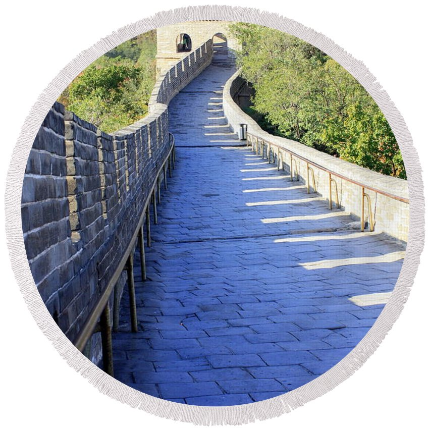 The Great Wall Of China Round Beach Towel featuring the photograph Great Wall Pathway by Carol Groenen
