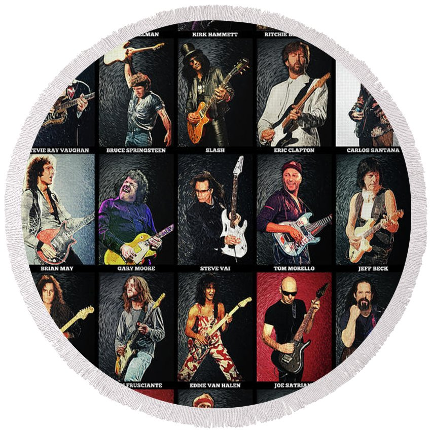 Guitar Round Beach Towel featuring the digital art Greatest Guitarists Of All Time by Zapista OU