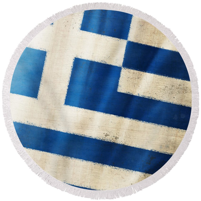 Chalk Round Beach Towel featuring the photograph Greece Flag by Setsiri Silapasuwanchai