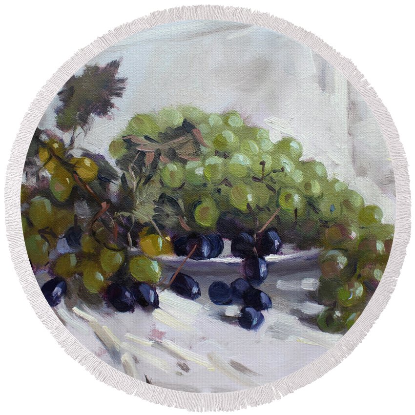 Greek Grapes Round Beach Towel featuring the painting Greek Grapes by Ylli Haruni