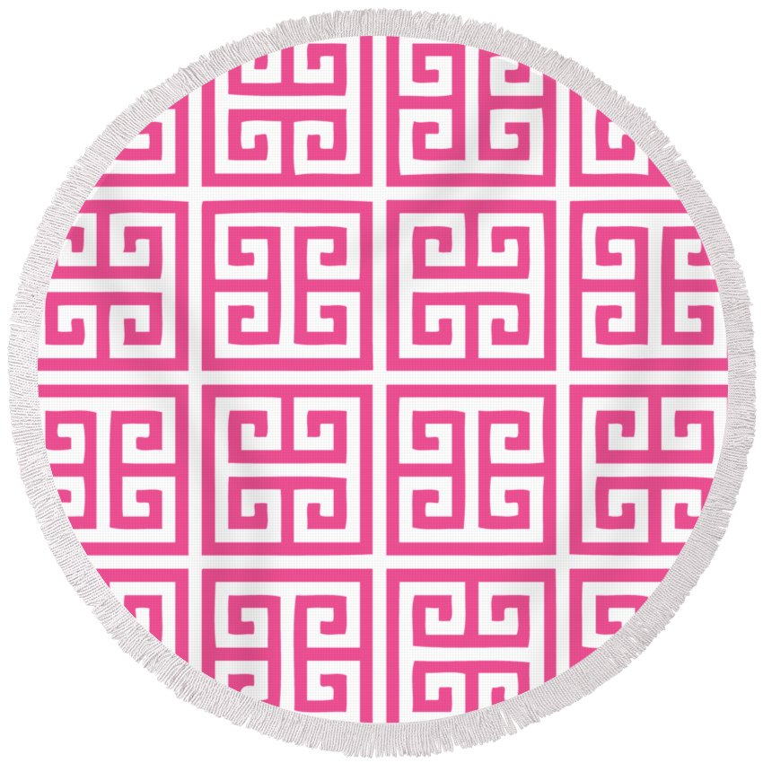 Greek Key Round Beach Towel featuring the digital art Greek Key With Border In French Pink by Custom Home Fashions