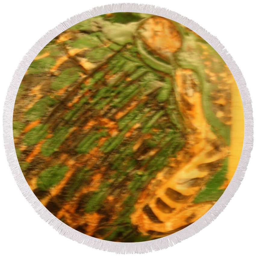 Jesus Round Beach Towel featuring the ceramic art Green - Tile by Gloria Ssali