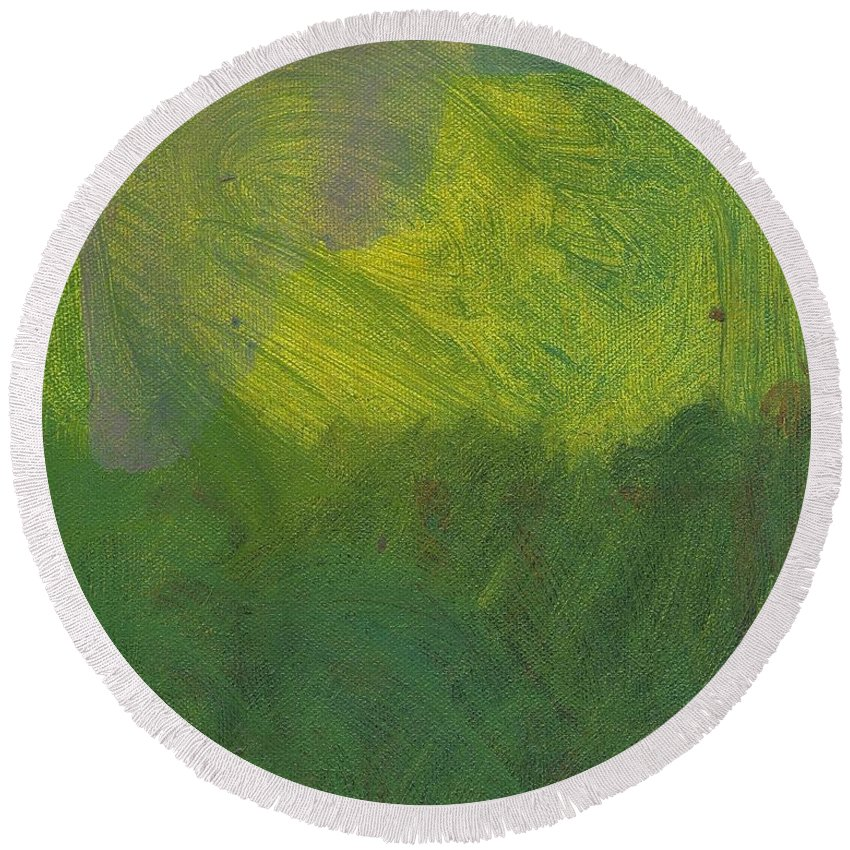 Green Round Beach Towel featuring the painting Green Abstract 1 by David Lovins
