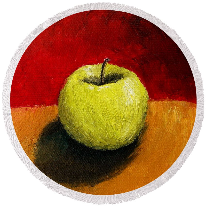 Apple Round Beach Towel featuring the painting Green Apple With Red And Gold by Michelle Calkins