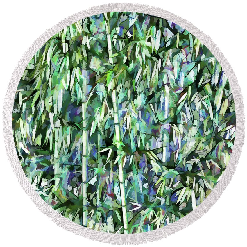 Bamboo Round Beach Towel featuring the painting Green Bamboo Tree In A Garden by Jeelan Clark