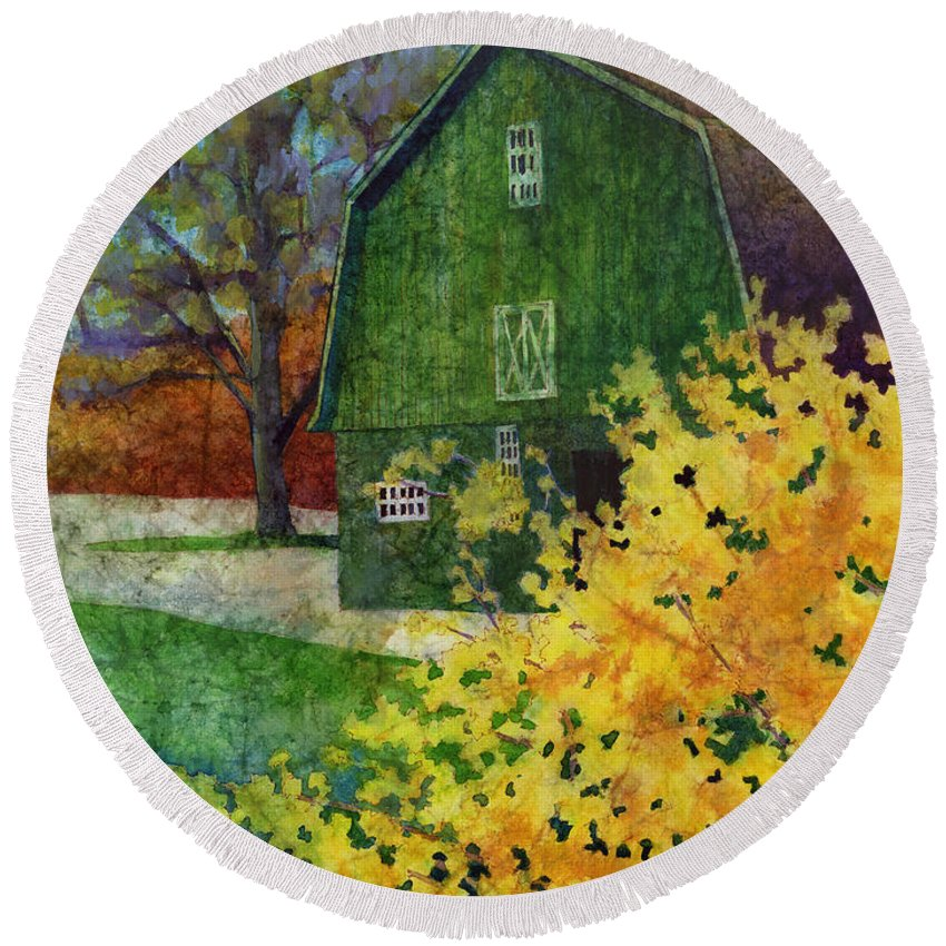 Barn Round Beach Towel featuring the painting Green Barn by Hailey E Herrera