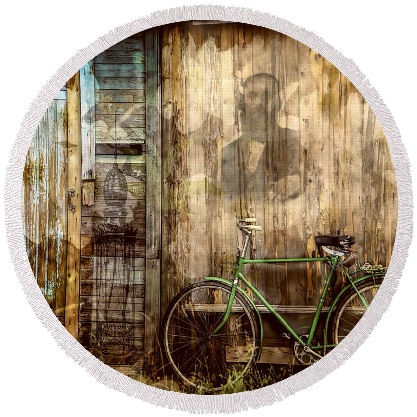 Green Bike Crooked Door Round Beach Towel featuring the photograph Green Bike Crooked Door by Bellesouth Studio