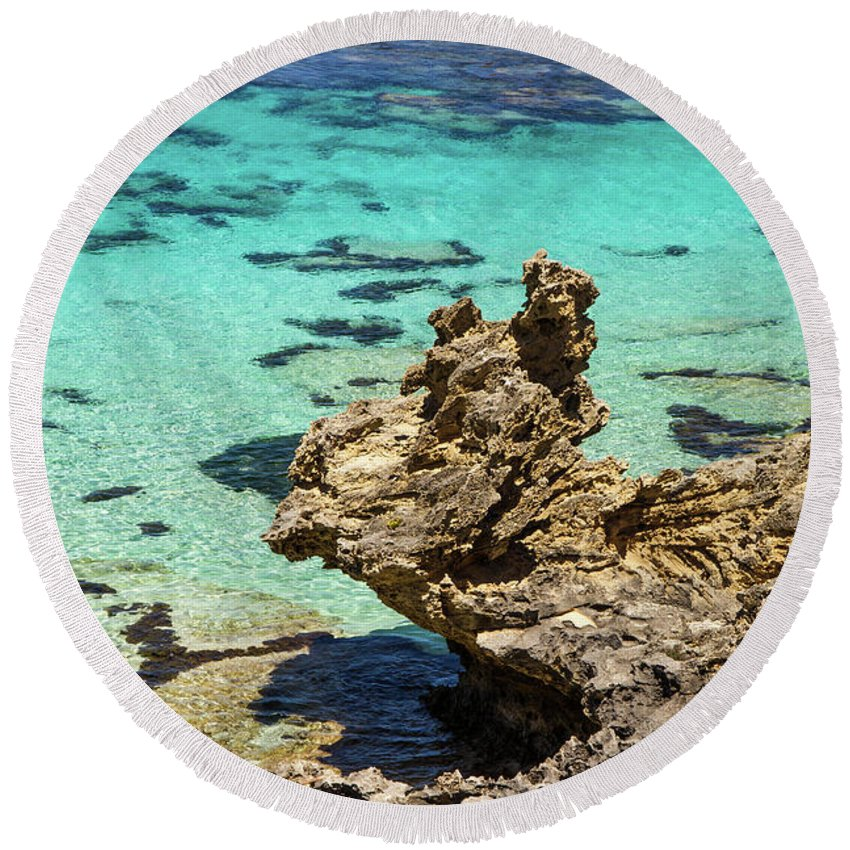Wind Round Beach Towel featuring the photograph Green Blue Ocean Water And Rocks by Josephine Cleopahrt