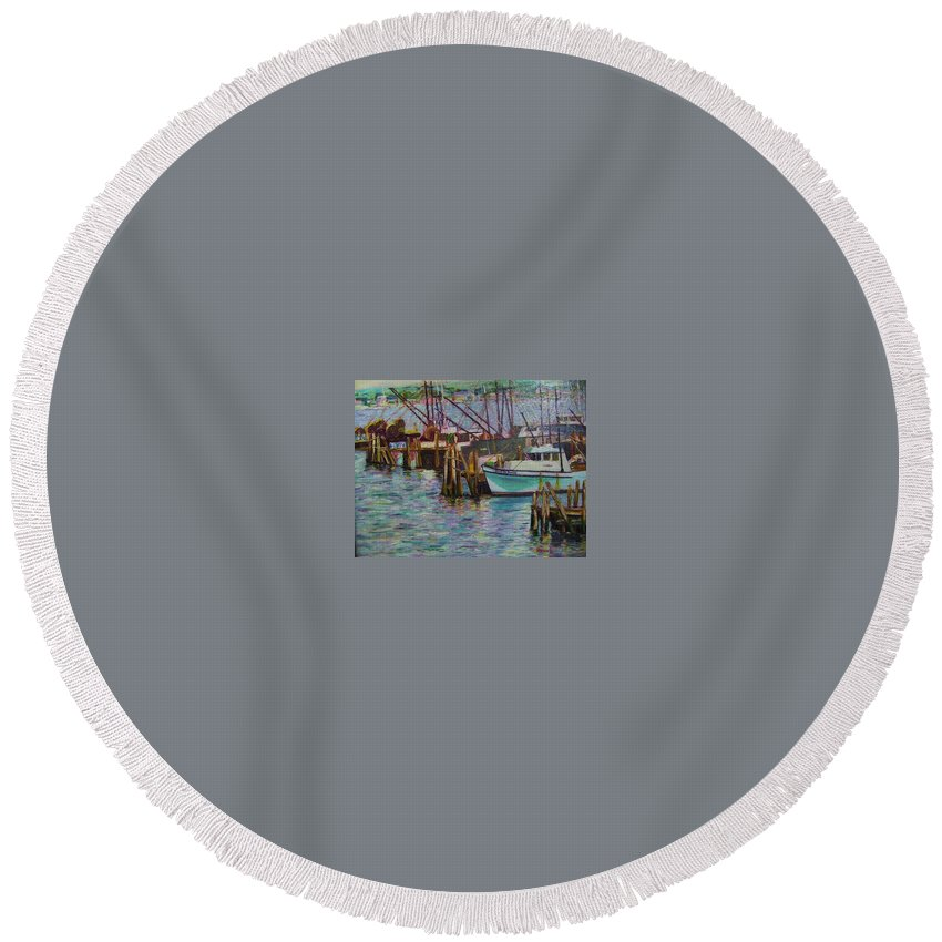 Boat Round Beach Towel featuring the painting Green Boat At Rest- Nova Scotia by Richard Nowak