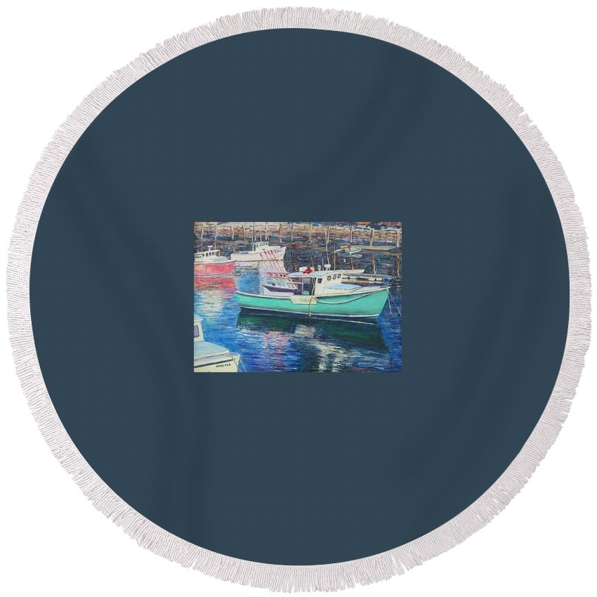 Water Round Beach Towel featuring the painting Green Boat Reflections by Richard Nowak
