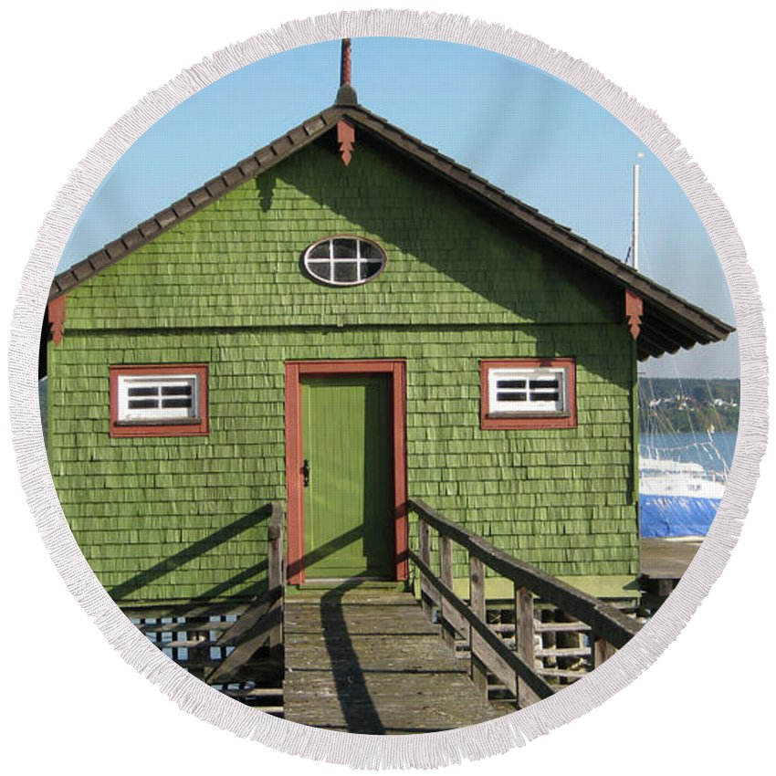 Green Boathouse Round Beach Towel featuring the photograph Green Boathouse by Heidi Sieber