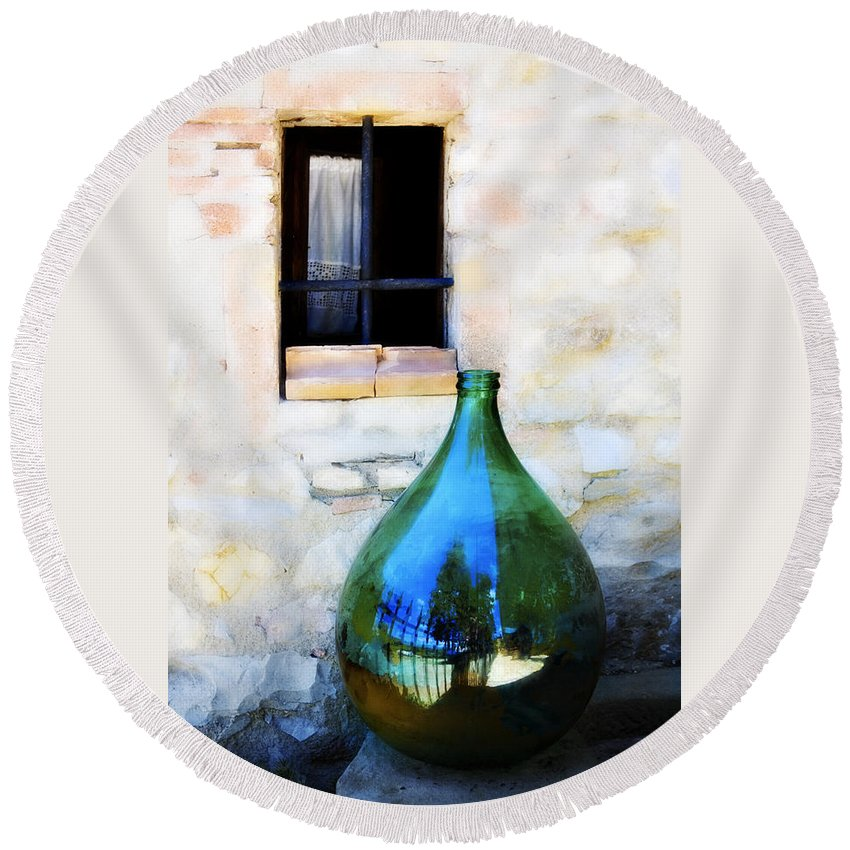 Bottle Round Beach Towel featuring the photograph Green Bottle Italian Window by Marilyn Hunt