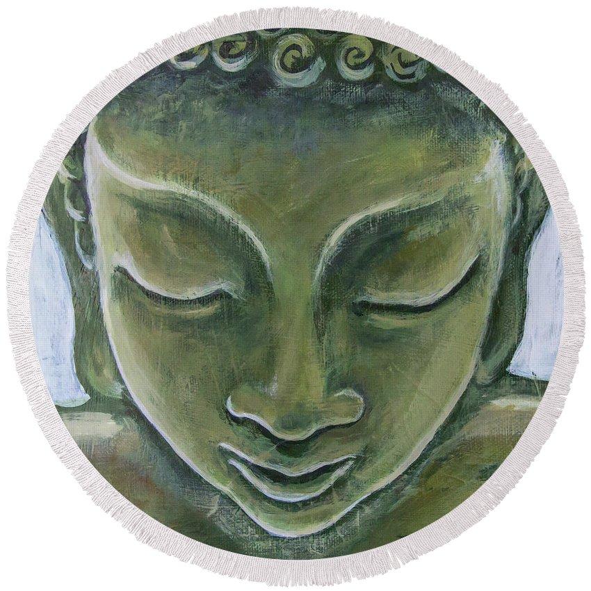 Tara Round Beach Towel featuring the painting Jade Buddha by Tara D Kemp